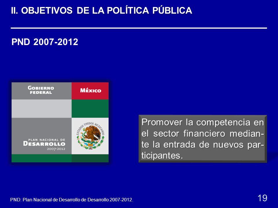 PND 2007-2012 19 PND: Plan Nacional de Desarrollo de Desarrollo 2007-2012. II. OBJETIVOS DE LA POLÍTICA PÚBLICA