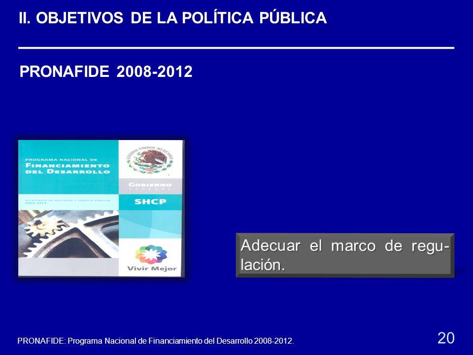 PRONAFIDE 2008-2012 20 PRONAFIDE: Programa Nacional de Financiamiento del Desarrollo 2008-2012. II. OBJETIVOS DE LA POLÍTICA PÚBLICA