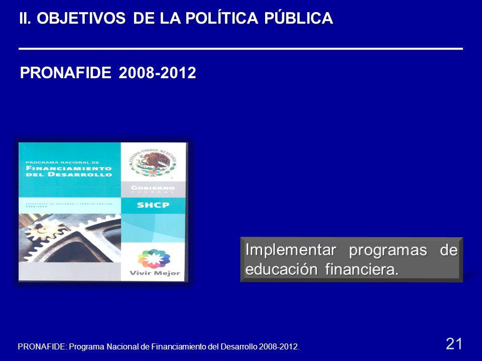 PRONAFIDE 2008-2012 21 PRONAFIDE: Programa Nacional de Financiamiento del Desarrollo 2008-2012. II. OBJETIVOS DE LA POLÍTICA PÚBLICA