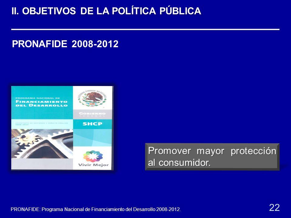PRONAFIDE 2008-2012 22 PRONAFIDE: Programa Nacional de Financiamiento del Desarrollo 2008-2012. II. OBJETIVOS DE LA POLÍTICA PÚBLICA
