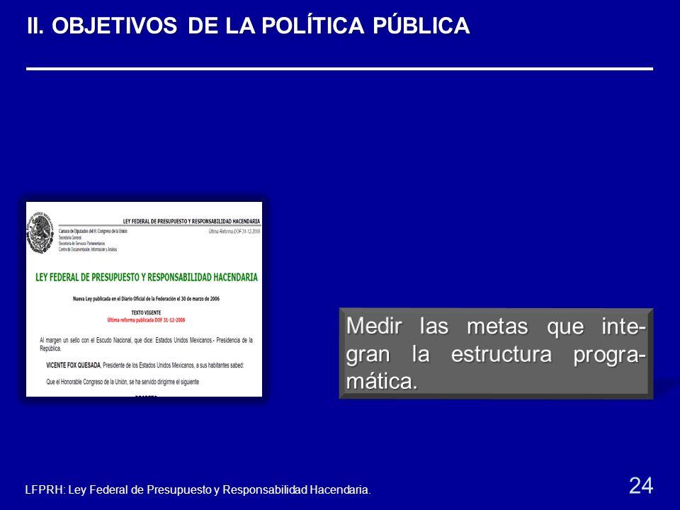 24 LFPRH: Ley Federal de Presupuesto y Responsabilidad Hacendaria. II. OBJETIVOS DE LA POLÍTICA PÚBLICA