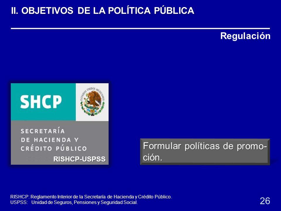 Regulación RISHCP-USPSS 26 RISHCP: Reglamento Interior de la Secretaría de Hacienda y Crédito Público. USPSS: Unidad de Seguros, Pensiones y Seguridad
