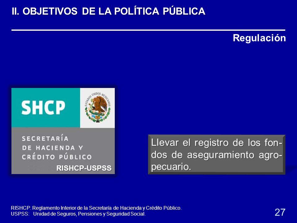 Regulación RISHCP-USPSS 27 RISHCP: Reglamento Interior de la Secretaría de Hacienda y Crédito Público. USPSS: Unidad de Seguros, Pensiones y Seguridad