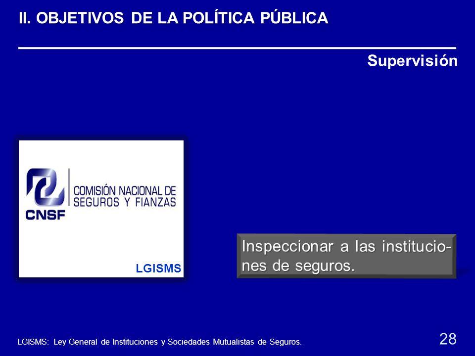 Supervisión LGISMS 28 LGISMS: Ley General de Instituciones y Sociedades Mutualistas de Seguros. II. OBJETIVOS DE LA POLÍTICA PÚBLICA