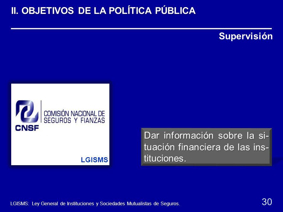 Supervisión LGISMS 30 LGISMS: Ley General de Instituciones y Sociedades Mutualistas de Seguros. II. OBJETIVOS DE LA POLÍTICA PÚBLICA