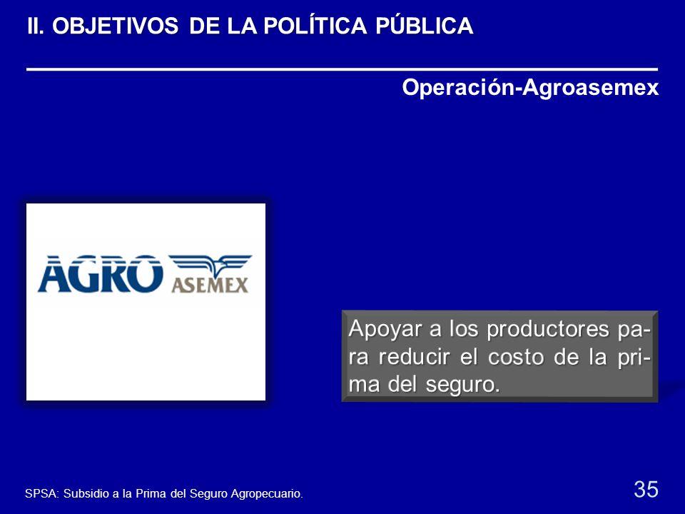Operación-Agroasemex 35 SPSA: Subsidio a la Prima del Seguro Agropecuario. II. OBJETIVOS DE LA POLÍTICA PÚBLICA