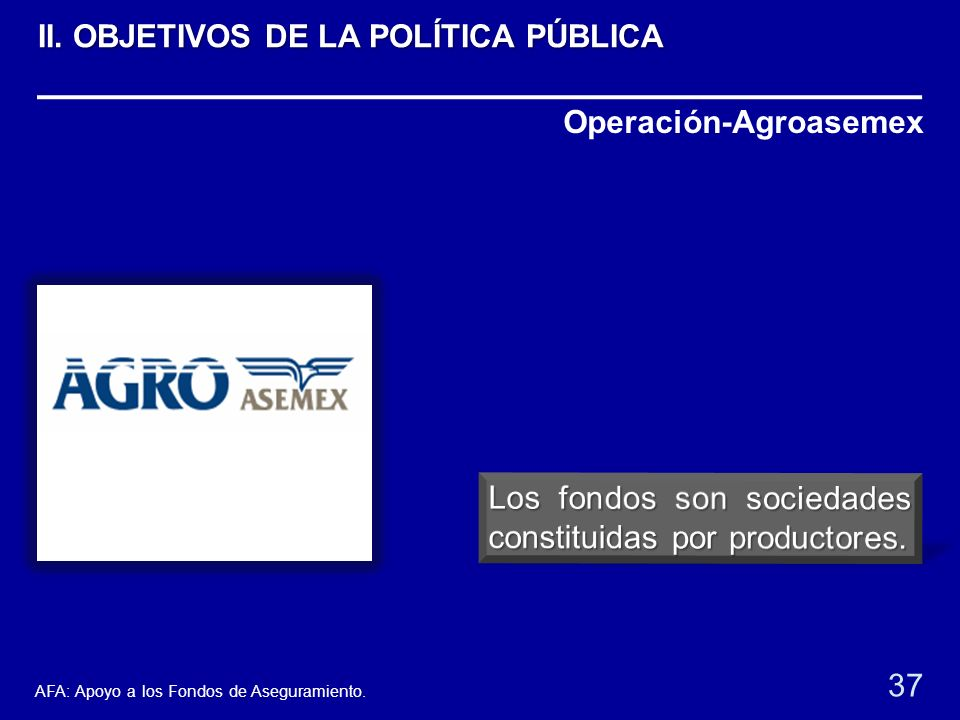 Operación-Agroasemex 37 AFA: Apoyo a los Fondos de Aseguramiento. II. OBJETIVOS DE LA POLÍTICA PÚBLICA