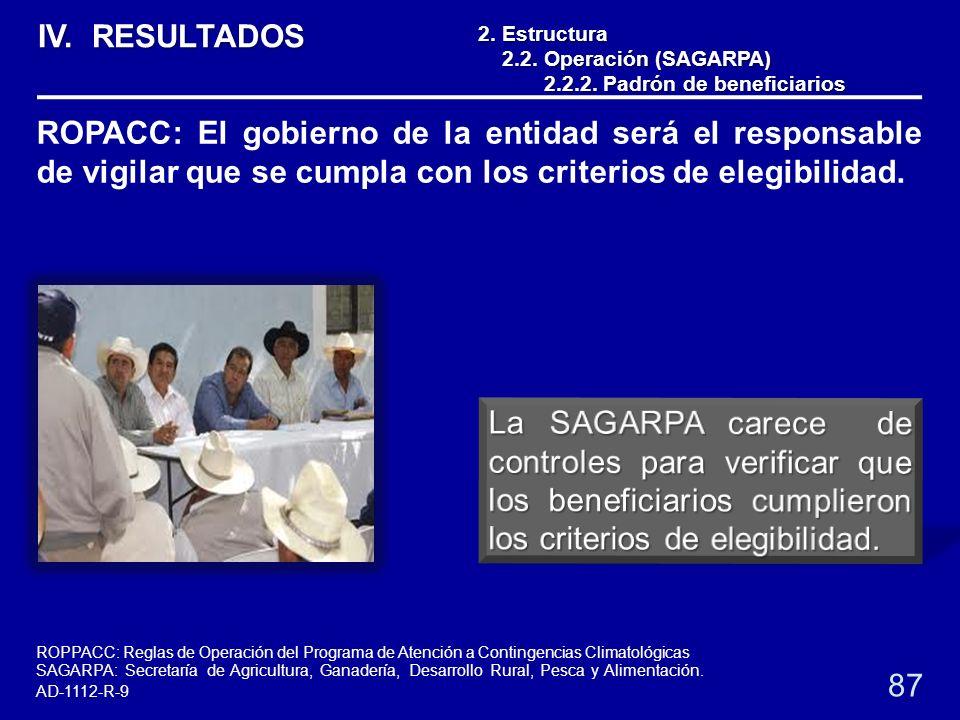 2.Estructura 2.2. Operación (SAGARPA) 2.2.2. Padrón de beneficiarios 2.2.2. Padrón de beneficiarios 87 ROPACC: El gobierno de la entidad será el respo