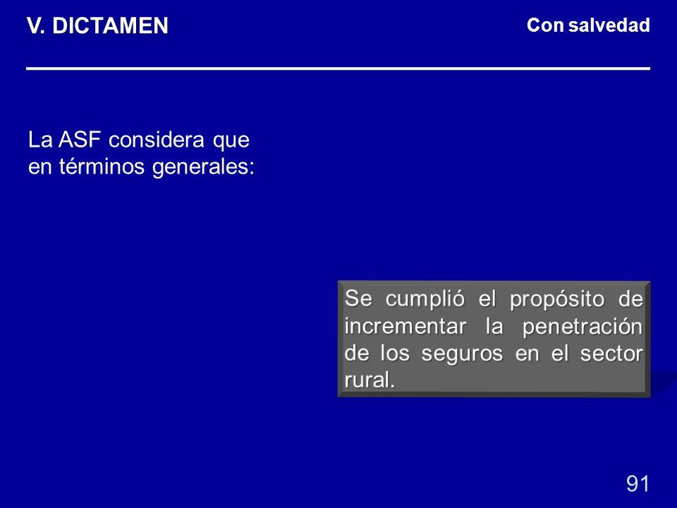 Con salvedad La ASF considera que en términos generales: 91 V. DICTAMEN