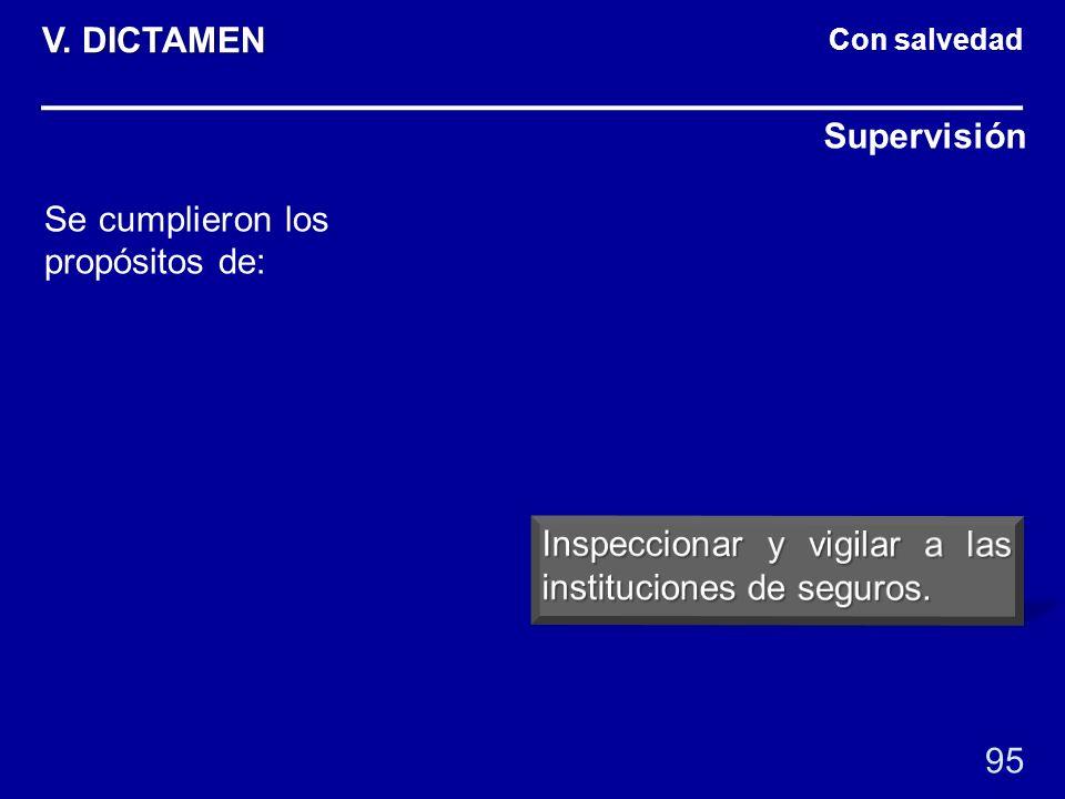 Con salvedad Supervisión 95 Se cumplieron los propósitos de: V. DICTAMEN