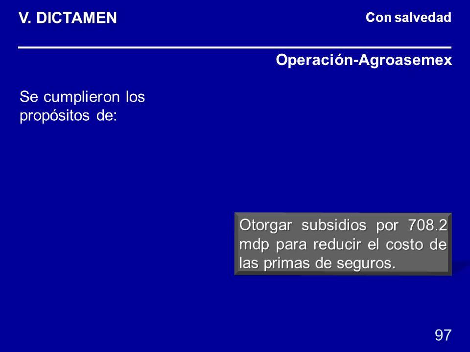 Con salvedad Operación-Agroasemex 97 Se cumplieron los propósitos de: V. DICTAMEN