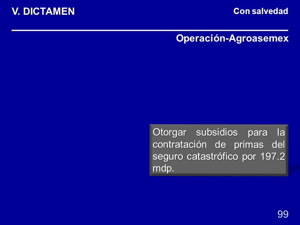 Con salvedad Operación-Agroasemex 99 V. DICTAMEN