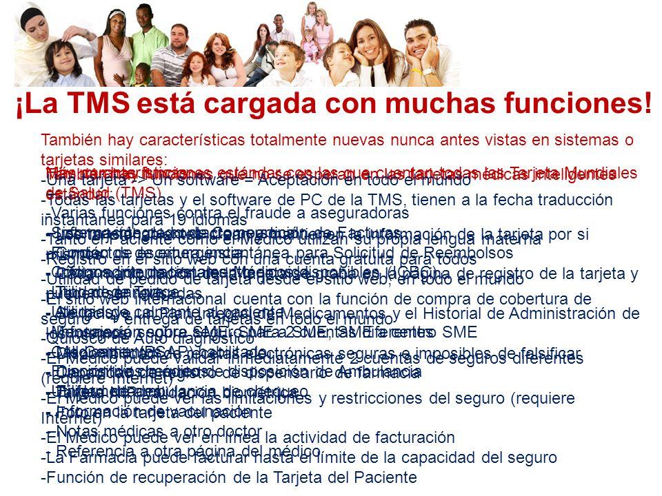 ¡La TMS está cargada con muchas funciones! Hay muchas funciones estándar con las que cuentan todas las Tarjeta Mundiales de Salud (TMS) - Información