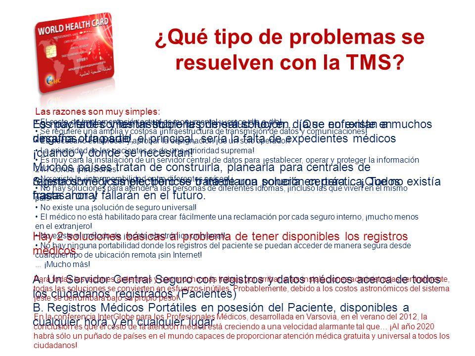 THE SYSTEM ¿Qué tipo de problemas se resuelven con la TMS? Los pacientes y las instituciones de salud hoy en día se enfrentan a muchos desafíos. Uno s