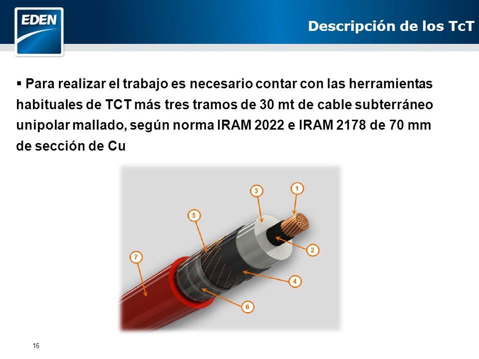 16 Para realizar el trabajo es necesario contar con las herramientas habituales de TCT más tres tramos de 30 mt de cable subterráneo unipolar mallado,