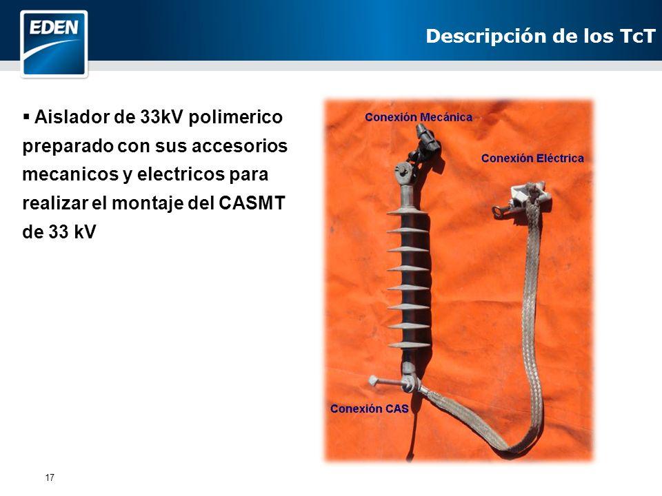 17 Aislador de 33kV polimerico preparado con sus accesorios mecanicos y electricos para realizar el montaje del CASMT de 33 kV Descripción de los TcT