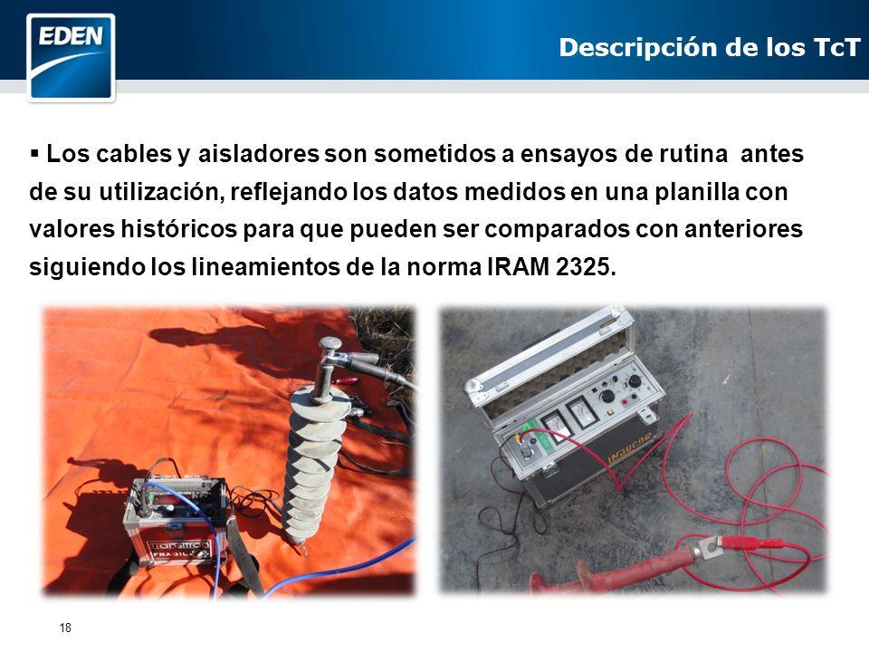 18 Los cables y aisladores son sometidos a ensayos de rutina antes de su utilización, reflejando los datos medidos en una planilla con valores históri