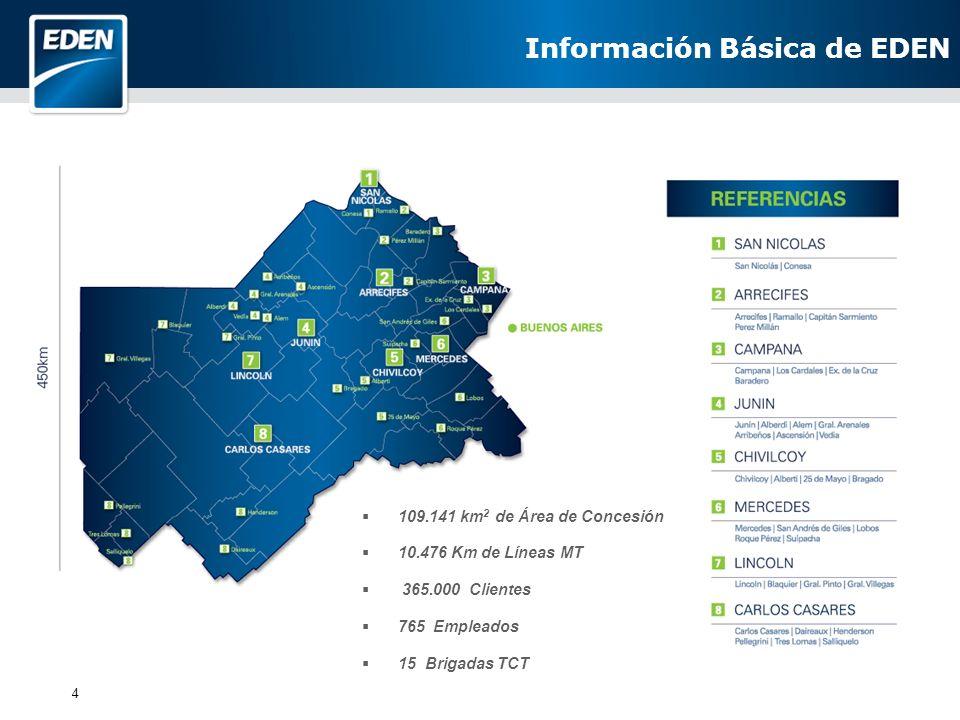 4 Información Básica de EDEN 109.141 km 2 de Área de Concesión 10.476 Km de Líneas MT 365.000 Clientes 765 Empleados 15 Brigadas TCT