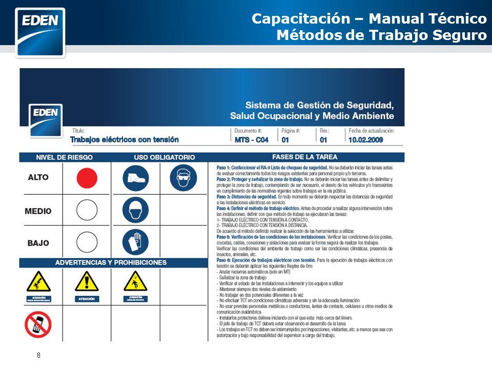 8 Capacitación – Manual Técnico Métodos de Trabajo Seguro