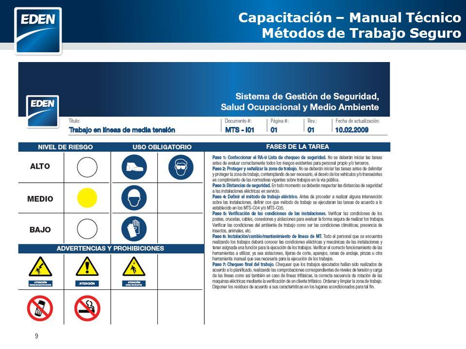 9 Capacitación – Manual Técnico Métodos de Trabajo Seguro