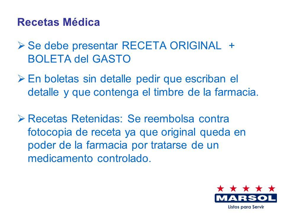 Recetas Médica Se debe presentar RECETA ORIGINAL + BOLETA del GASTO En boletas sin detalle pedir que escriban el detalle y que contenga el timbre de l