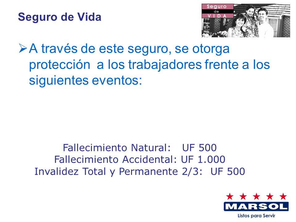 Seguro de Vida A través de este seguro, se otorga protección a los trabajadores frente a los siguientes eventos: Fallecimiento Natural: UF 500 Falleci