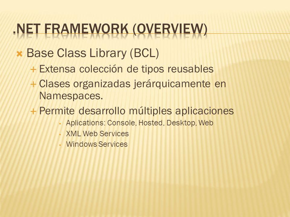 Base Class Library (BCL) Extensa colección de tipos reusables Clases organizadas jerárquicamente en Namespaces. Permite desarrollo múltiples aplicacio