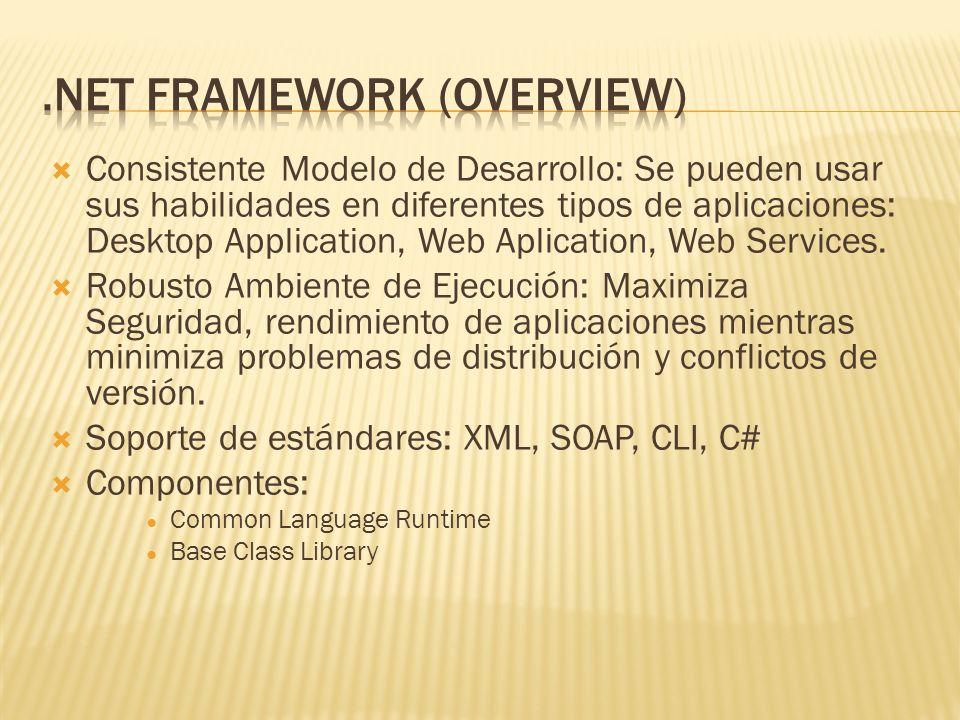 Common Language Runtime - CLR Provee servicios: compilación, verificación de código seguro, manejo automático de memoria.