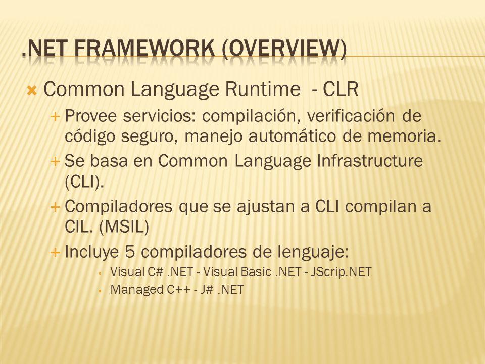 .NET Framework SDK.NET Framework: Infraestructura necesaria, incluye CLR y FCL Compiladores de Lenguaje: C#, VB.NET, JScrip.NET Depuradores y Utilitarios: facilitan crear, depurar, configurar, mantener aplicaciones y componentes.