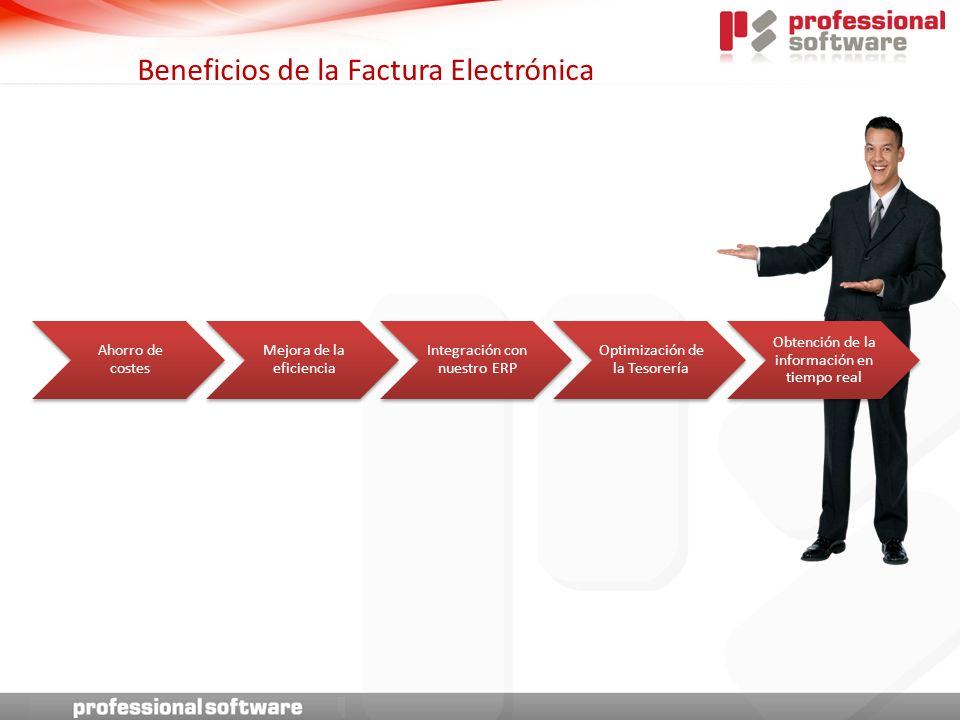 Beneficios de la Factura Electrónica Ahorro de costes Mejora de la eficiencia Integración con nuestro ERP Optimización de la Tesorería Obtención de la información en tiempo real