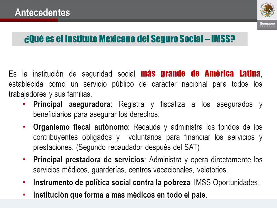 ¿Qué es el Instituto Mexicano del Seguro Social – IMSS? Es la institución de seguridad social más grande de América Latina, establecida como un servic