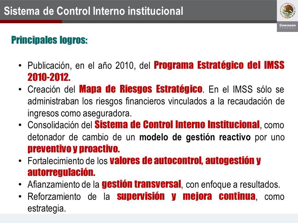 Publicación, en el año 2010, del Programa Estratégico del IMSS 2010-2012. Creación del Mapa de Riesgos Estratégico. En el IMSS sólo se administraban l
