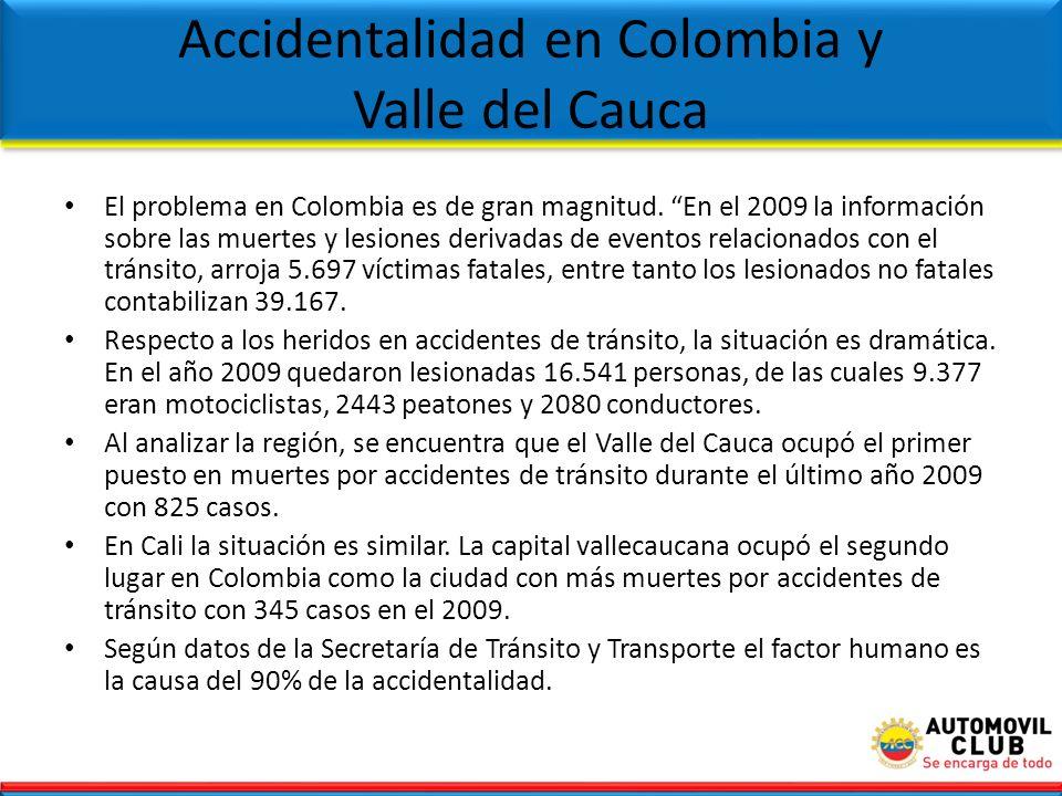 El problema en Colombia es de gran magnitud. En el 2009 la información sobre las muertes y lesiones derivadas de eventos relacionados con el tránsit