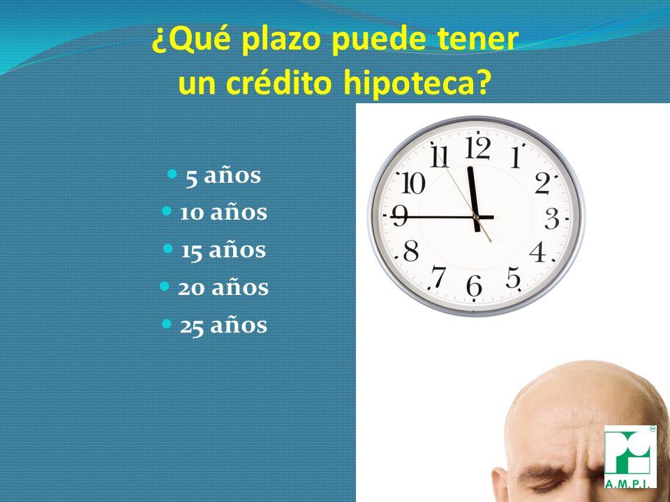 ¿Qué plazo puede tener un crédito hipoteca 5 años 10 años 15 años 20 años 25 años