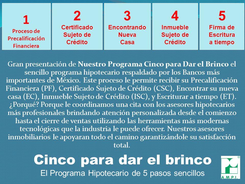 1 Proceso de Precalificación Financiera Gran presentación de Nuestro Programa Cinco para Dar el Brinco el sencillo programa hipotecario respaldado por los Bancos más importantes de México.