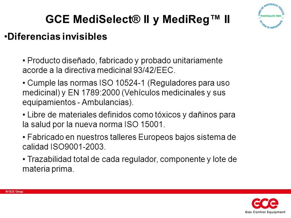 © GCE Group Producto diseñado, fabricado y probado unitariamente acorde a la directiva medicinal 93/42/EEC. Cumple las normas ISO 10524-1 (Reguladores