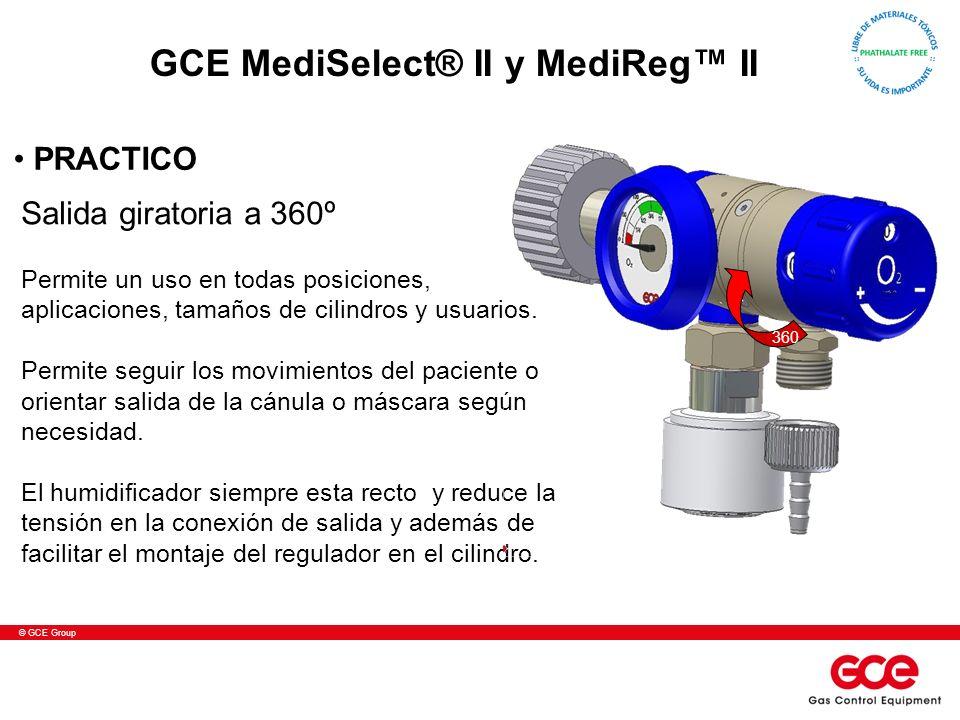 © GCE Group Salida giratoria a 360º Permite un uso en todas posiciones, aplicaciones, tamaños de cilindros y usuarios. Permite seguir los movimientos