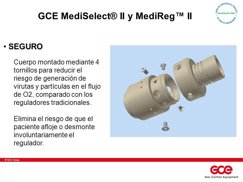 © GCE Group Cuerpo montado mediante 4 tornillos para reducir el riesgo de generación de virutas y partículas en el flujo de O2, comparado con los reguladores tradicionales.