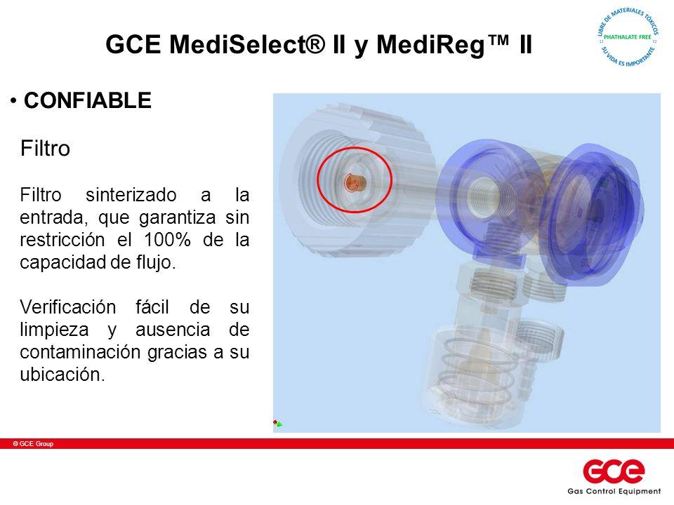 © GCE Group Filtro Filtro sinterizado a la entrada, que garantiza sin restricción el 100% de la capacidad de flujo. Verificación fácil de su limpieza