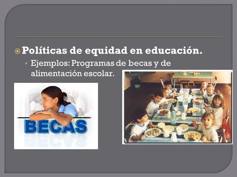 Políticas de equidad en educación. Ejemplos: Programas de becas y de alimentación escolar.