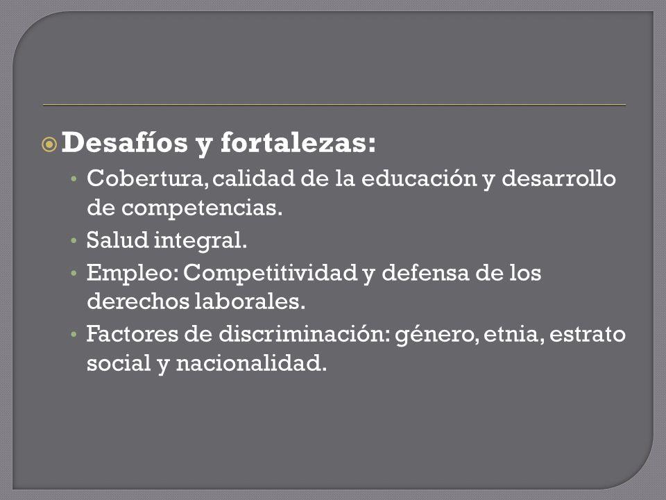 Desafíos y fortalezas: Cobertura, calidad de la educación y desarrollo de competencias.