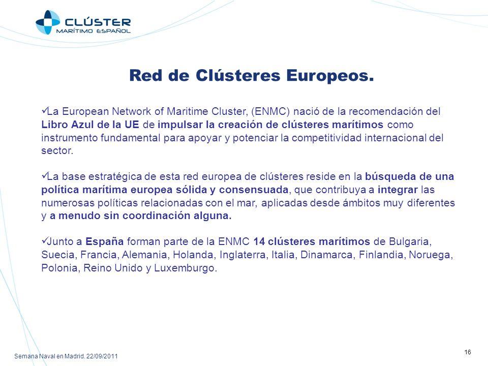 Semana Naval en Madrid.22/09/2011 16 Red de Clústeres Europeos.
