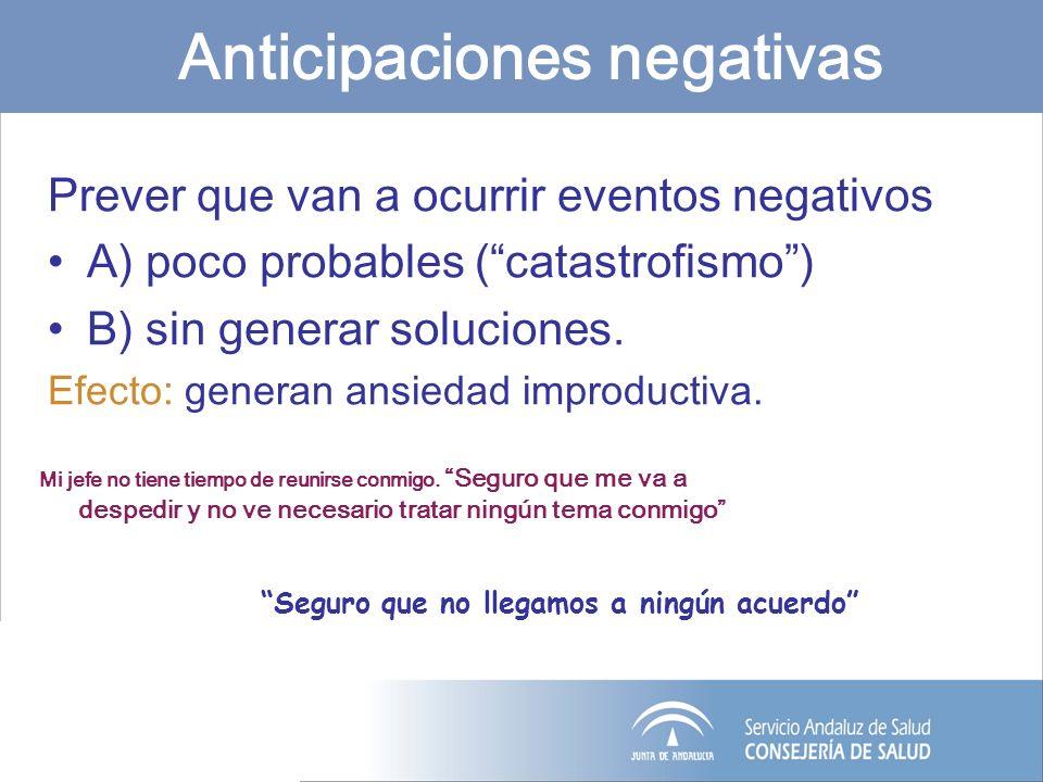 Anticipaciones negativas Prever que van a ocurrir eventos negativos A) poco probables (catastrofismo) B) sin generar soluciones. Efecto: generan ansie