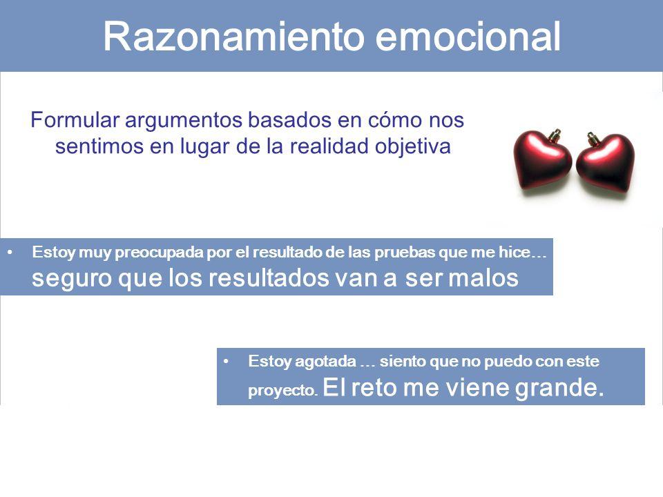 Razonamiento emocional Formular argumentos basados en cómo nos sentimos en lugar de la realidad objetiva Estoy muy preocupada por el resultado de las