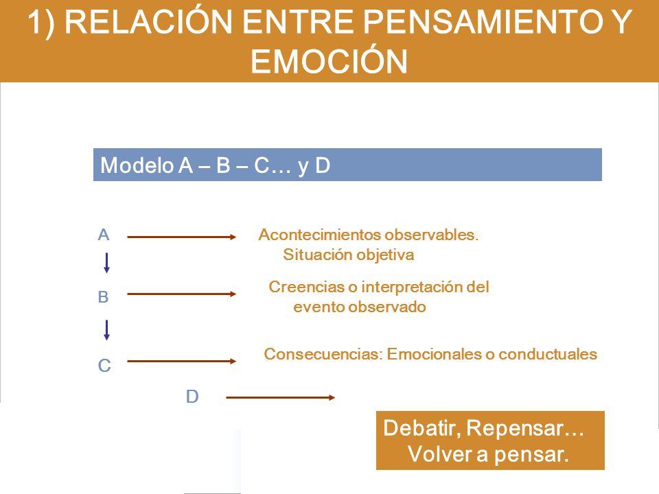 Modelo A – B – C… y D 1) RELACIÓN ENTRE PENSAMIENTO Y EMOCIÓN A B C Acontecimientos observables. Situación objetiva Creencias o interpretación del eve