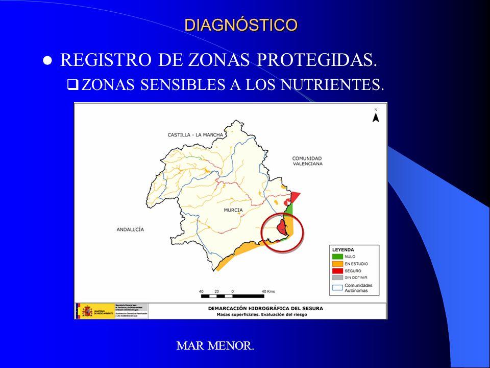 DIAGNÓSTICO REGISTRO DE ZONAS PROTEGIDAS. ZONAS SENSIBLES A LOS NUTRIENTES. MAR MENOR.