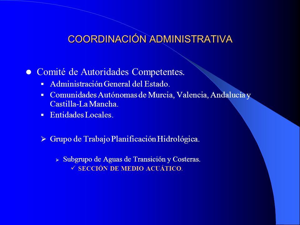 COORDINACIÓN ADMINISTRATIVA Comité de Autoridades Competentes. Administración General del Estado. Comunidades Autónomas de Murcia, Valencia, Andalucía