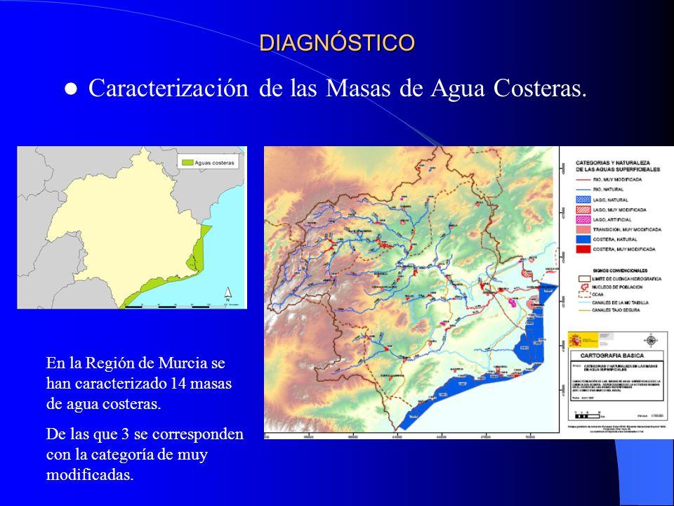 DIAGNÓSTICO Caracterización de las Masas de Agua Costeras. En la Región de Murcia se han caracterizado 14 masas de agua costeras. De las que 3 se corr