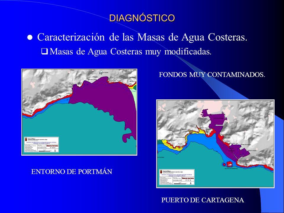 DIAGNÓSTICO Caracterización de las Masas de Agua Costeras. Masas de Agua Costeras muy modificadas. FONDOS MUY CONTAMINADOS. ENTORNO DE PORTMÁN PUERTO