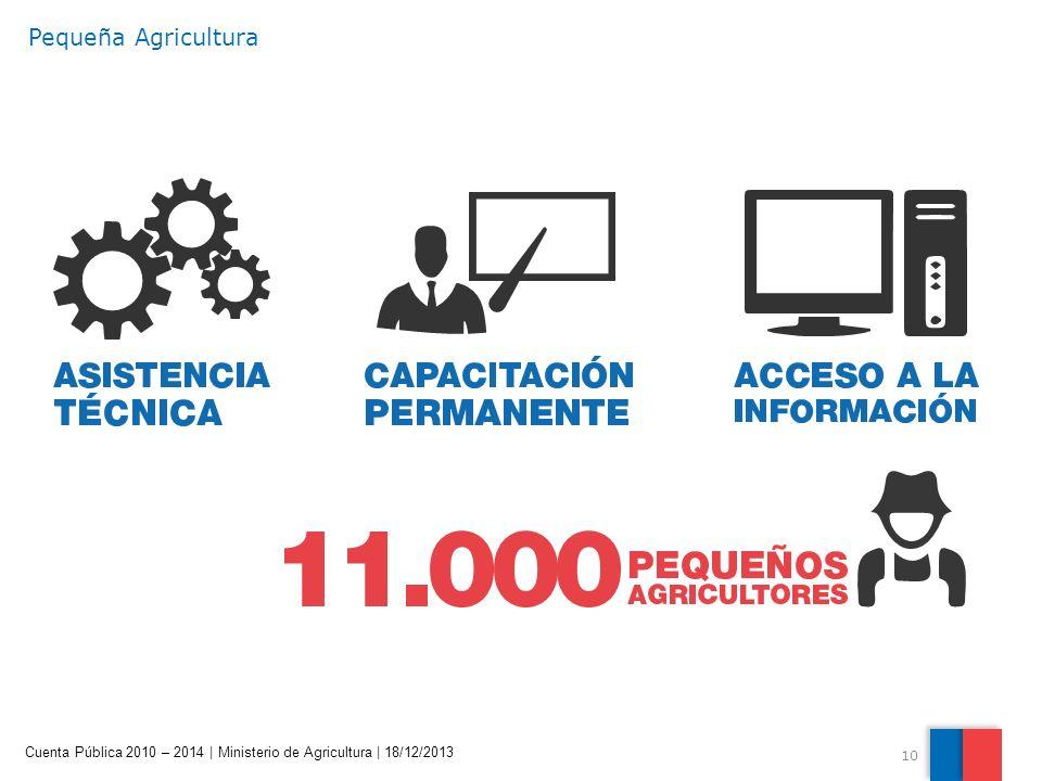 10 Cuenta Pública 2010 – 2014 | Ministerio de Agricultura | 18/12/2013 Pequeña Agricultura